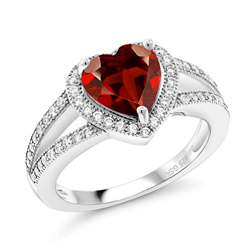 Gem Stone King 2.51 Ct Heart Shape Red Garnet 925 Sterling Silver Ring (Size 7)