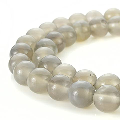 BEADNOVA AAA Natural Smooth Polish 8mm Grey Agate Gemstone Round Loose Beads For Jewelry Making (48-50pcs / - Grey Agate Stone