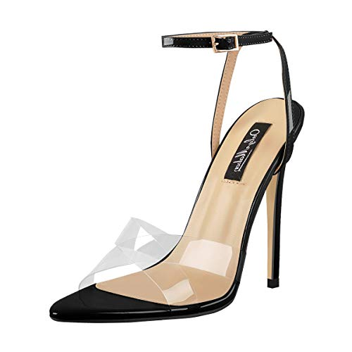 Onlymaker Women's Pointy Open Toe Strap Heels Clear Cross Band Ankle Strap Slingback Fashion Sandals Black Size 6 ()