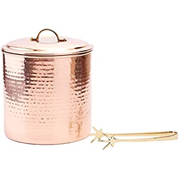 Old Dutch International Hammered Decor Ice Bucket with Liner and Tongs, 3-Quart, Copper