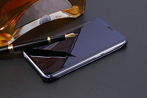 Spiegel Hülle für Huawei P8 Lite 2017 (Nicht für P8 Lite 2015/2016), Hartplastik Flip Case Handyhülle für Huawei P8 Lite 2017, ZCRO Elegant Schutzhülle für Huawei P8 Lite 2017 Spiegel Hülle Hart PC Pl Design 1 Lila Blau