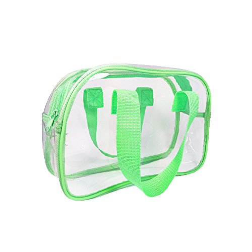 Clear Purse that is Event Stadium Approved / Clear Handbags for Cosmetics, Makeup, and Travel / Clear Bag Made of Transparent Plastic (Green)