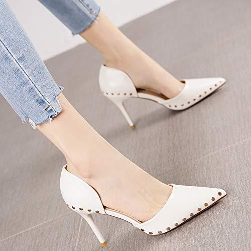 Las De Tacón tacón Negro de De De Otoño De De alto La Acentuados Boca Solo Baja Mujeres Alto Zapatos 38 Moda White Aguja Y Yukun Femenino Zapatos Tacón zapatos De Primavera ROWCwn1q