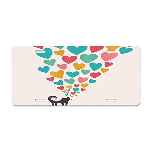 Fshionlicenkdseplate Cute Cat in Love with Colorful Different Size Hearts Happy Sweet Kitty Clipart Car Licence Plate Covers Holders with Chrome Screw Caps for US Vehicles