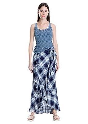Plaid Maxi-Wrap Skirt Wrap Ruffled in Indigo Blue