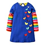 VIKITA Kid Girls Cotton Embroidery Rainbow Long Sleeve Flower Dress 1-8 Years LH6801 6T