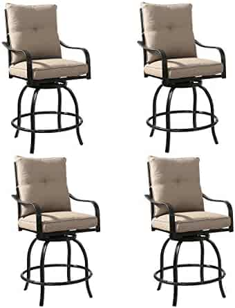 0dab0a517f8 Chairs Set of 2 Rimba Outdoor Swivel Patio Bar Stools Chairs with Beige  Cushions