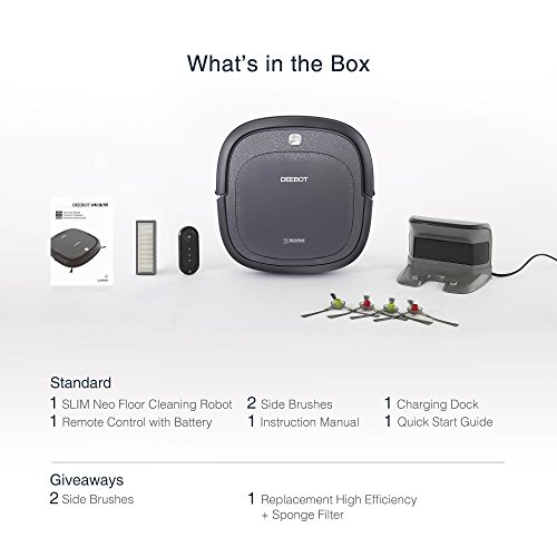 ECOVACS Slim Neo Robot Vacuum Cleaner with Compact Design, Sensor Navigation for Pet Hair, Fur, Allergens, Thin Carpet, Hardwood and Tile Floors