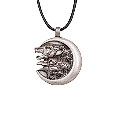 HAQUIL Wolf Jewelry Raven and Wolf on The Moon Necklace for Men for ()