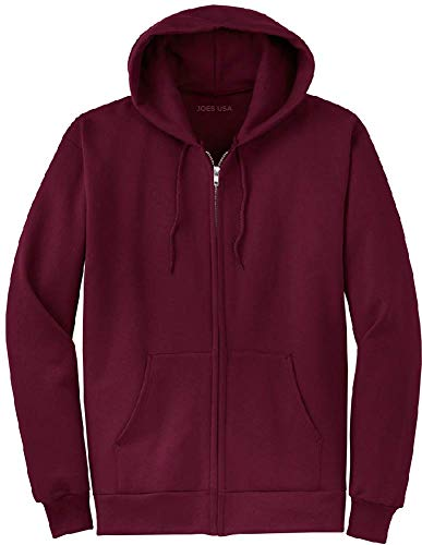 Hoody Zip Full Maroon - Joe's USA Full Zipper Hoodies - Hooded Sweatshirts Size M, Maroon