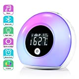 Wake Up Light Alarm Clocks, ZOTO Alarm Clock for Kids with Bluetooth Speaker, 5 Color Adjustment, 3 Natural Sounds, 4 Brightness, and Vibration Induction Night Light for Kids, Party, Bedroom