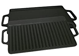 King Kooker CI21GS Pre-seasoned Cast Iron 2 Sided Griddle, 15.75-Inch