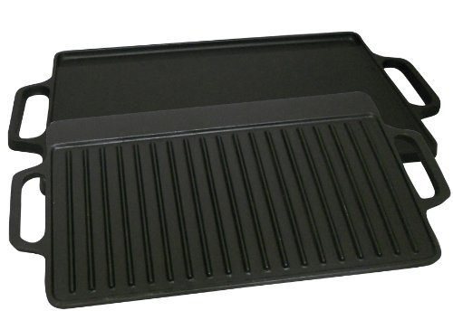 King Kooker CI21GS Pre-seasoned Cast Iron 2 Sided Griddle, 1