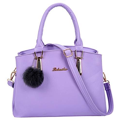 backpack,LandFox Fashion women's solid color hair ball Messenger bag portable leather temperament bag handbag handbag from LandFox