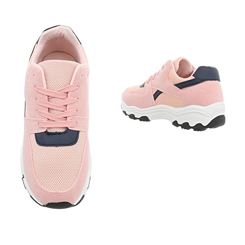 149 Baskets Sneakers Mode Bleu G Chaussures Low Plat Ital Espadrilles Femme design Rose axARUR