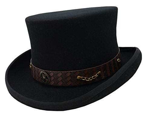 Different Touch 100% Wool Victorian Western Steampunk Costume Top Hat with Lather Band and Chain (M, Black)]()
