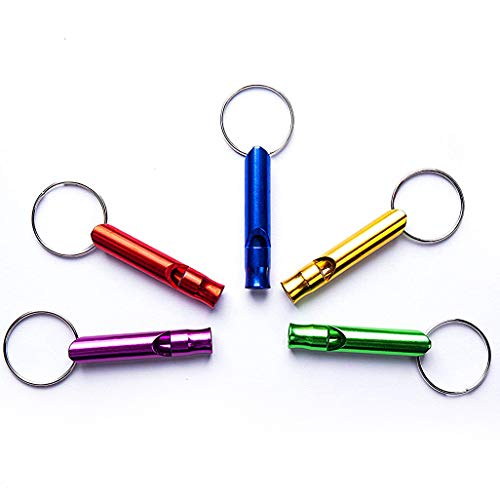 Tree Bud 5pcs Hiking Camping Survival Aluminum Whistle with Key Chain, Emergency Whistles