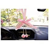 LuckySHD Car Mirror Perfume Hanging Bowknot with Angel Wings Ornament Pendant