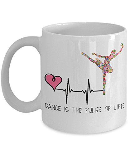Gifts for dancers - Dance is the pulse of life 11 oz coffee mug - best present for ballet, ballroom, jazz, contemporary or modern dance teacher or dancing (Hip Hop Dance Costumes For Teenagers)