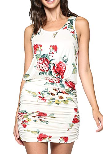 LaClef Women's Mini Ruched Tank Shift Dress (White/Red Flower, XS)