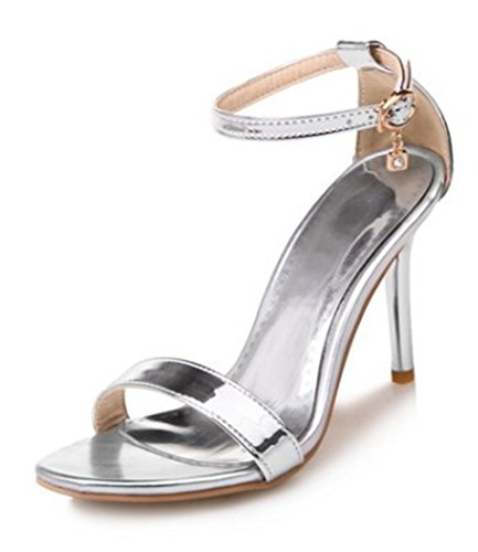 Aisun Womens Sexy Buckled Dressy Open Toe Stiletto High Heels Ankle Strap Sandals Shoes Silver lnSIO