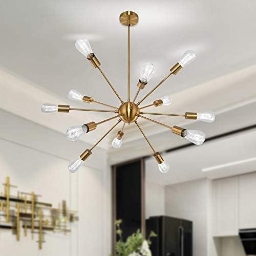 Gold Sputnik Chandeliers 12 Lights Modern Vintage Ceiling Light Fixture Industrial Pendant Lighting