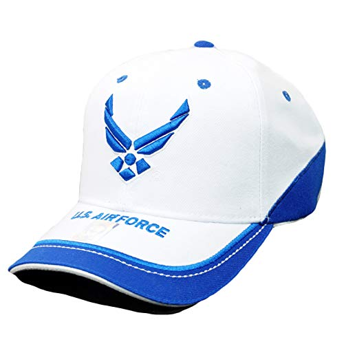 U.S. Air Force Official Licensed Military Hats USAF Wings Veteran Retired Baseball Cap (White)