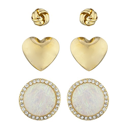 (Lux Accessories Goldtone Assorted 3PC Earring Set Knot Heart Rhinestone Opal)
