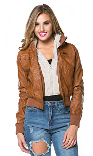 Sweater Insert Leather Bomber Jacket in Tan (Plus Sizes Available)