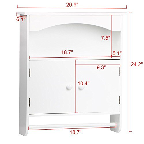 Topeakmart White Wood Bathroom Wall Mount Cabinet Toilet Medicine Storage Organizer Bar by Topeakmart (Image #2)