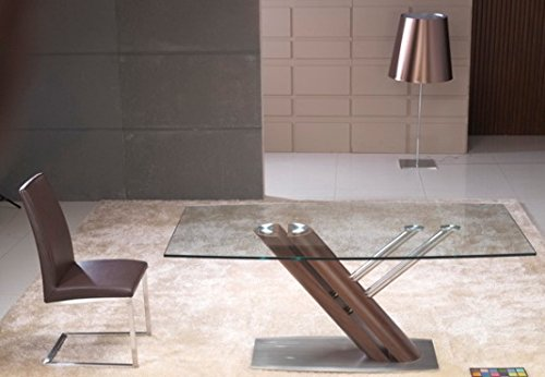 Creative Images International Occasion Collection Rectangular Glass Top Dining Table with Stainless Steel Base, Dark Bronze
