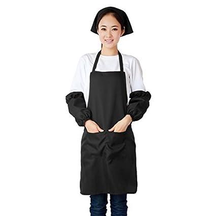 Delantal de bolsillo eDealMax Restaurante Cafetería vestido babero Negro w manga Pañuelo