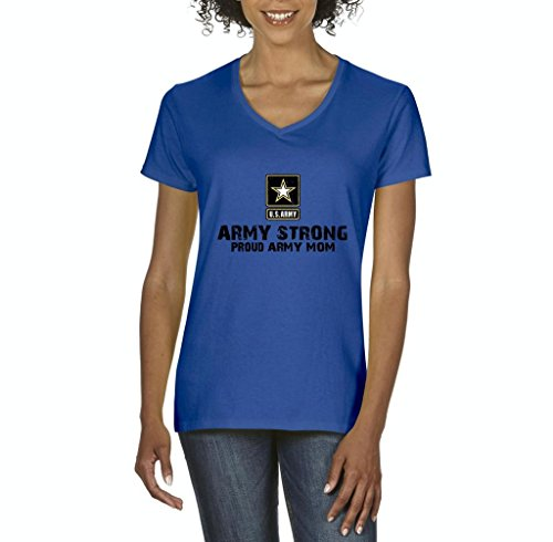 Xekia U.S. Army Star Army Strong Proud Army Mom Fashion People Couples Best Friend Gifts Women's V-Neck T-Shirt Tee Clothes XX-Large Royal ()