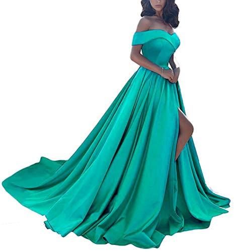 Homdor Split Off Shoulder Prom Evening Dress for Women A-Line Satin Formal Gown Turquoise Size ()