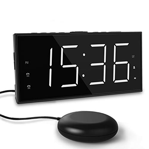 Extra Loud Alarm Clock with Bed Shaker 7.5″ Large LED Display with 5 Brightness Dimmer Vibrating Dual Alarm Clock for Heavy Sleepers,Hard of Hearing, Deaf with USB Charger,Snooze,Battery Backup