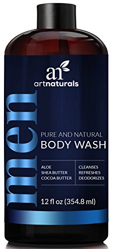 ArtNaturals Men's Natural Body Wash – (16 Fl Oz / 473ml) – Shower Gel that Cleanses, Refreshes and Deodorizes – with Aloe Vera, Shea Butter, Essential Oils and Cocoa (Deep Exfoliating Gel Wash)