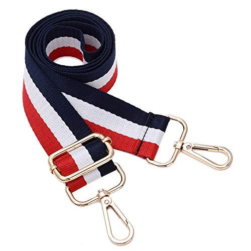 (Wide Shoulder Strap Adjustable Replacement Belt Crossbody Canvas Bag Handbag (Red&White&Blue))