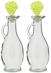 Glass Oil and Vinegar Bottles Dispenser Cruet Set with Corks - 2 Piece - Colors May Vary