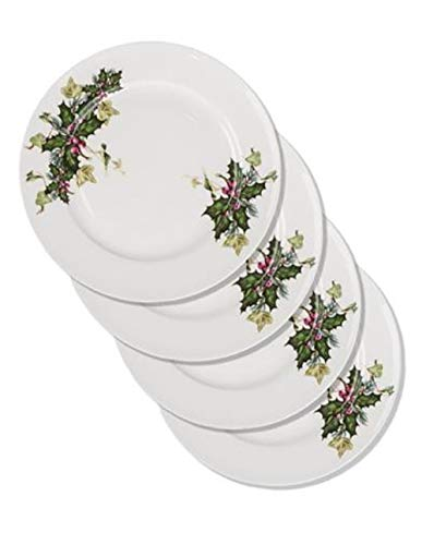 (Victorian Trading Co 4 Holly & Ivy English Bone China Dessert Plates)
