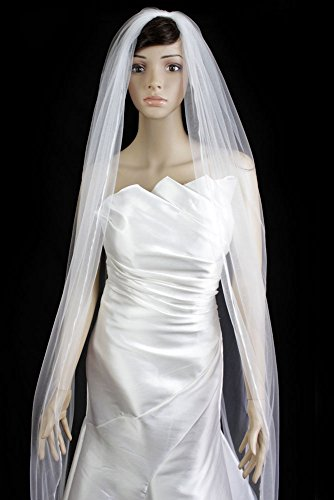 - Wedding Veil Bridal Bride One Tier 120in Plain Pencil Edge White Cathedral Tulle
