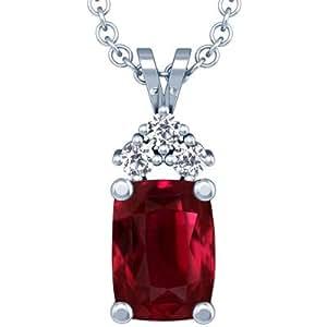 Platinum Cushion Cut Ruby And Round Diamond Pendant