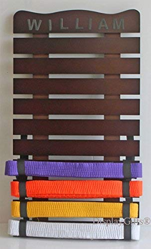 Personalized Karate/Taekwondo/Kung Fu Martial Art Belt Display Rack/Holder Wall Mount case, KR01