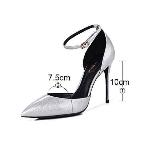Femmes Pour 10cm Mariage Discothèque Gold Fête Boucle Bandage Sexy Chaussures Travail De Escarpins Sandales Talons PU Chaussures Mode Hauts UgcwRx