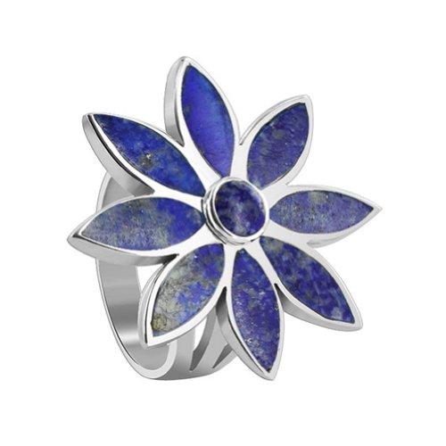 Gem Avenue 925 Sterling Silver Blue Lapis Lazuli Gemstone Floral Design (Lapis Lazuli Flower)