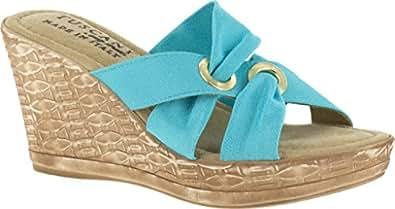 EASY STREET Women's, Solaro High Heel Wedge Sandal TURQUO 5 M