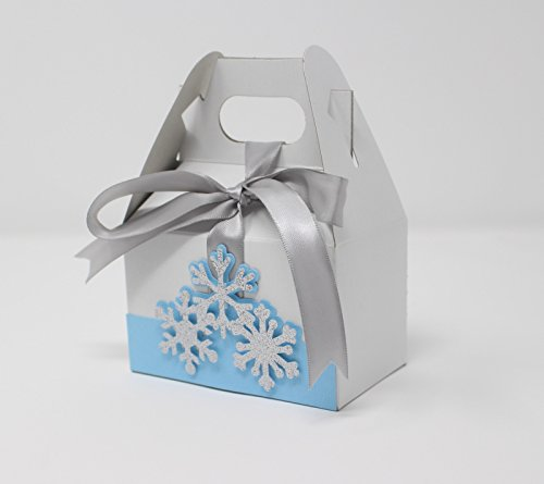 All About Details Snowflakes Favor Boxes, 10sets, Winter Theme Gift Box, Gable Box (Light Blue & -