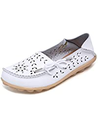LONSOEN Womens Hollow Out Carving Casual Leather Driving Solid Lace-Up Flat Loafers Shoes