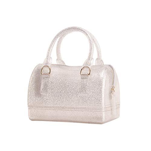 (Girls Jelly Mini Candy Handbag Crossbody Shoulder Bags for Summer (Shining Silver))