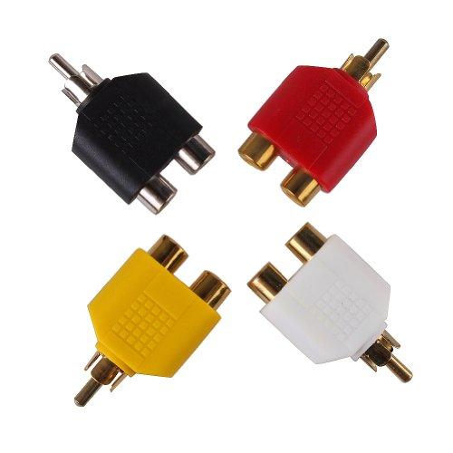 Uhome 8 x RCA AV Audio Y Splitter Plug Adapter 1 Male plug to 2 Female jack connector Jack Adapter Audio Cable Converter RCA Plug (male) to 2 RCA Jack (female) Splitter Adaptor - Gold Plated
