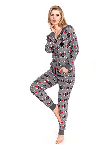 Cozy and Curious Holiday Printed Hooded Zipper Front Onesie Loungewear (Large) (Until Midnight 5 Days)